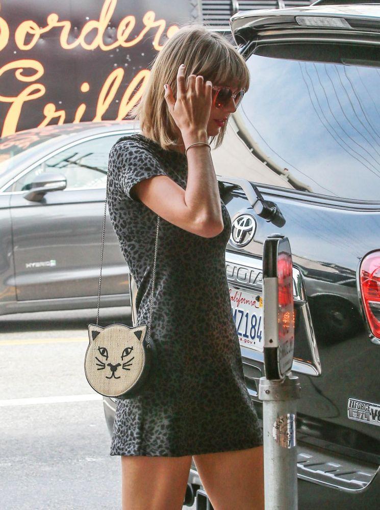 Taylor Swift con vestido con estampado animal print